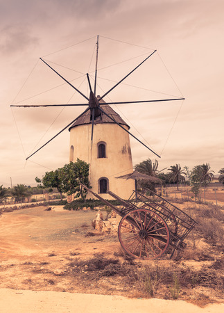 Old Spanish windmill near Montserrat monastery Stock Photo