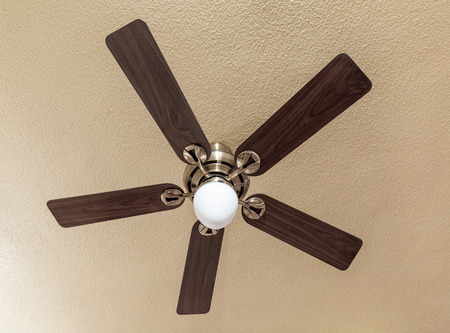 Wooden ceiling fan with a lamp in the middle