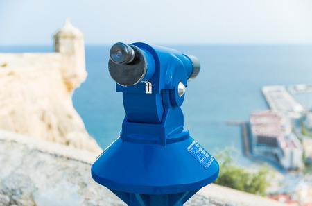 santa barbara: Spyglass for viewing tourists attractions. Santa Barbara Castle, Alicante