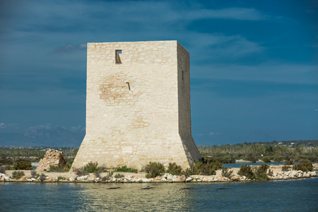 watchtower: Old Watchtower in Spain among the swamps Stock Photo