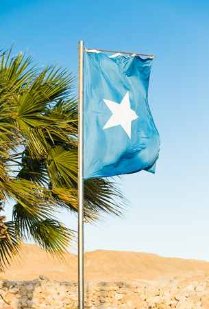 mideast: Waving National flag of Somalia on flagpole Stock Photo