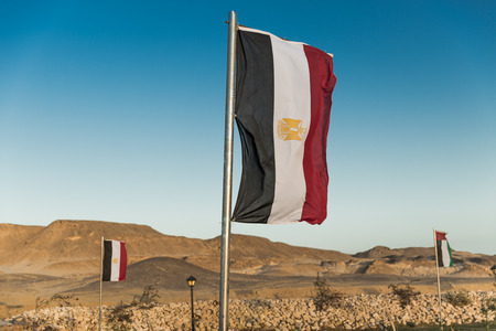 mideast: Waving Vertical Egyptian flag on metal flagpole Stock Photo