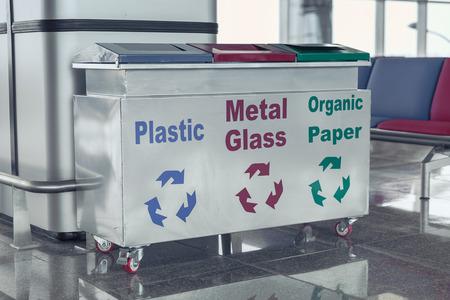 environmental sanitation: Metal bins for separate waste collection