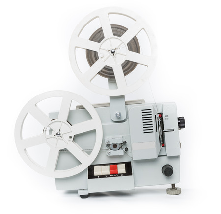 film projector: Old film projector on a white background