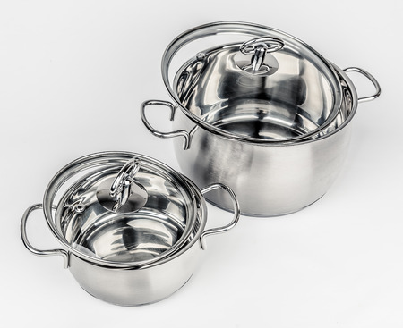 cookware: Two Metal stock pots with glass lid. Cookware
