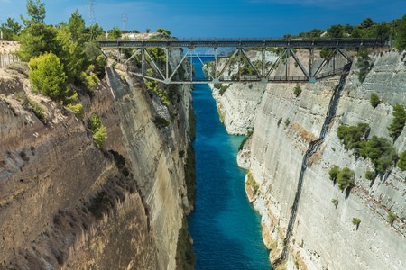 The Corinth Canal in Greece Stock Photo