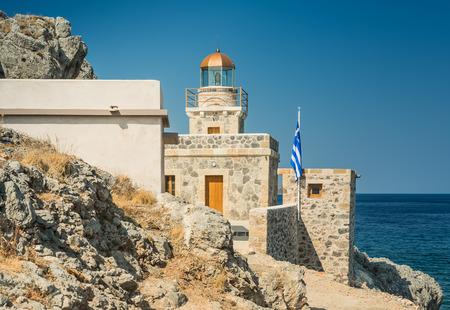 laconia: Lighthouse in Monemvasia town - Laconia, Greece Stock Photo