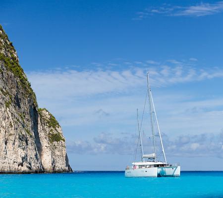 White catamaran in the Blue Lagoon