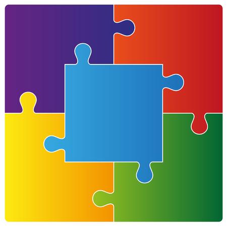 Kleur puzzel set van vijf stuks. Vector illustratie