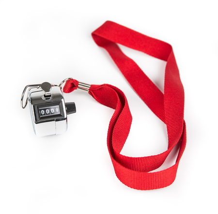 Metal Clicker Counter on red ribbon