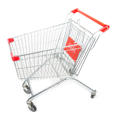 Supermarket trolley cart isolated on white