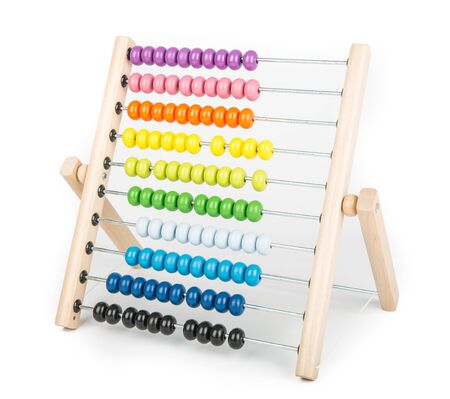 Abacus counting frame isolated on white 版權商用圖片