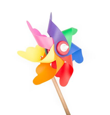 Toy windmill propeller with color blades Banco de Imagens