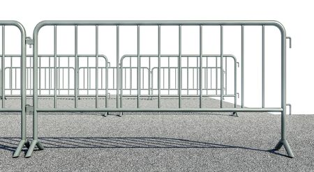 3D illustration of Mobile Security fence on the road Imagens