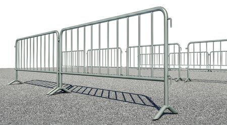 3D illustration of Mobile Security fence on the road 스톡 콘텐츠