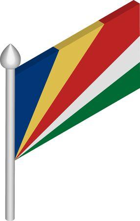 Vector Isometric Illustration of Flagpole with Seychelles Flag Иллюстрация