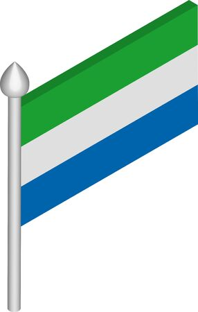 Vector Isometric Illustration of Flagpole with Sierra Leone Flag Иллюстрация