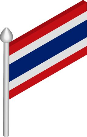 Vector Isometric Illustration of Flagpole with Thailand Flag