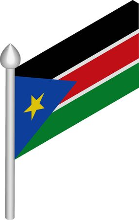 Vector Isometric Illustration of Flagpole with South Sudan Flag