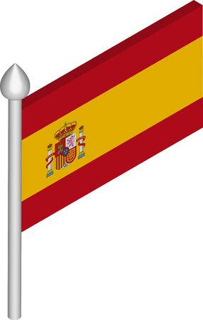 Vector Isometric Illustration of Flagpole with Spain Flag