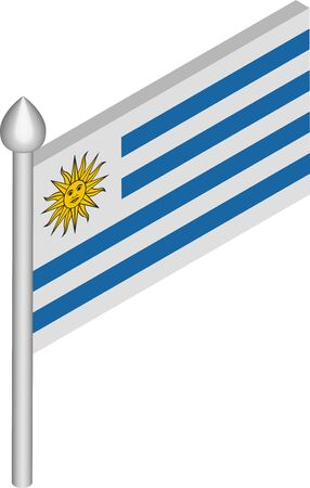 Vector Isometric Illustration of Flagpole with Uruguay Flag