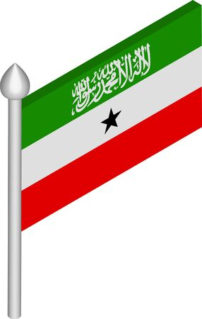 Vector Isometric Illustration of Flagpole with Somaliland Flag
