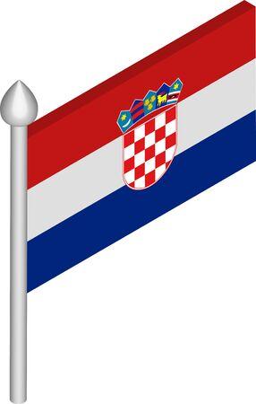 Vector Isometric Illustration of Flagpole with Croatia Flag