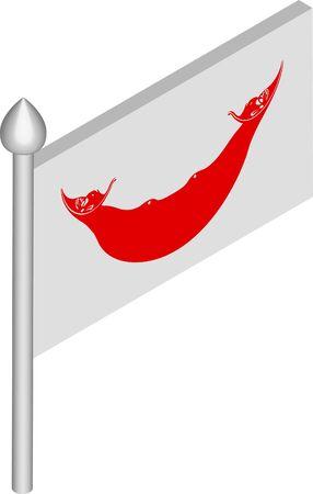 Vector Isometric Illustration of Flagpole with Easter Island - Rapa Nui Flag