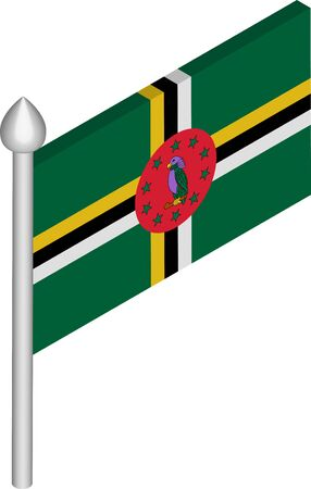 Vector Isometric Illustration of Flagpole with Dominica Flag