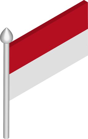 Isometric Illustration of Flagpole with Indonesia Flag