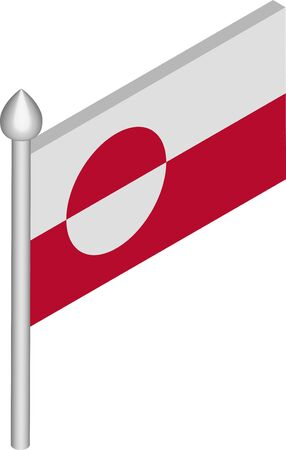 Isometric Illustration of Flagpole with Greenland Flag