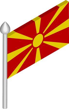 Isometric Illustration of Flagpole with Macedonia Flag Stock Illustratie