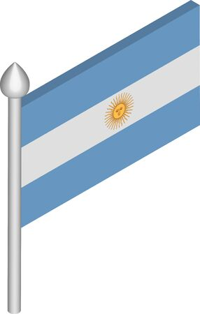 Vector Isometric Illustration of Flagpole with Argentina Flag