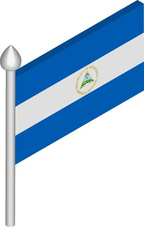 Vector Isometric Illustration of Flagpole with Nicaragua Flag