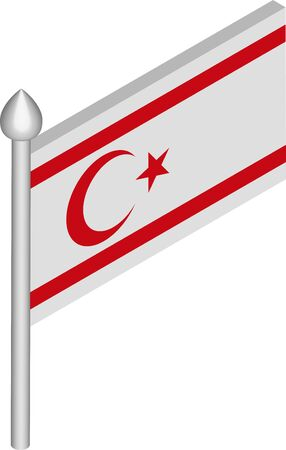 Vector Isometric Illustration of Flagpole with Northern Cyprus Flag