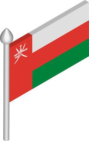 Vector Isometric Illustration of Flagpole with Oman Flag