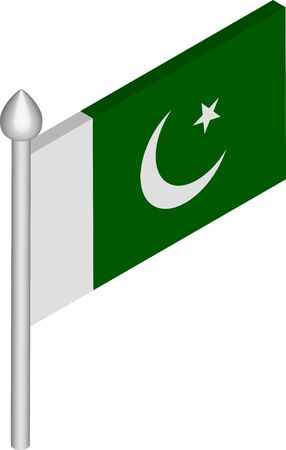 Vector Isometric Illustration of Flagpole with Pakistan Flag