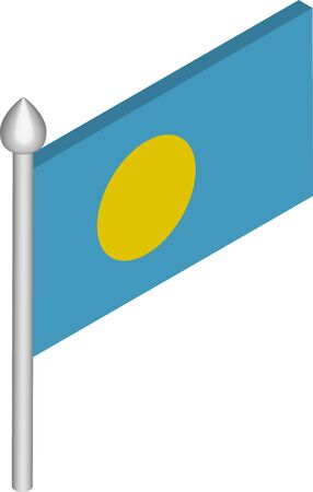 Vector Isometric Illustration of Flagpole with Palau Flag