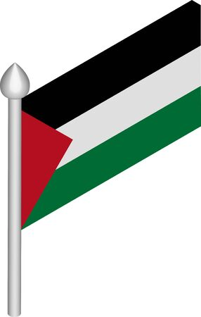 Vector Isometric Illustration of Flagpole with Palestine Flag  イラスト・ベクター素材