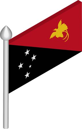 Vector Isometric Illustration of Flagpole with Papua New Guinea Flag Illustration