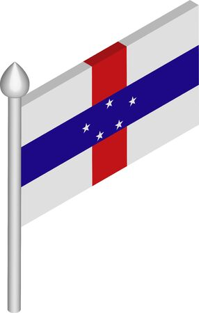 Vector Isometric Illustration of Flagpole with Netherlands Antilles Flag
