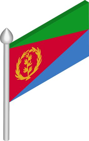 Vector Isometric Illustration of Flagpole with Eritrea Flag