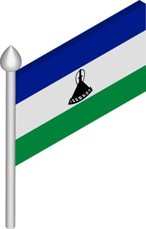 Vector Isometric Illustration of Flagpole with Lesotho Flag