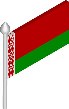 Vector Isometric Illustration of Flagpole with Belarus Flag