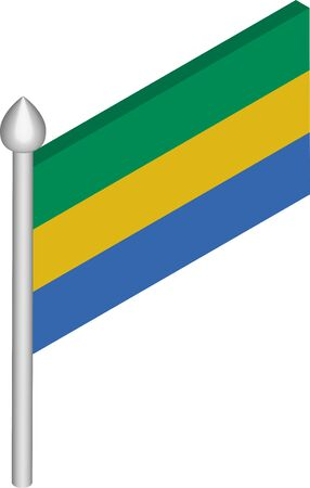 Vector Isometric Illustration of Flagpole with Gabon Flag