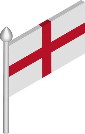 Vector Isometric Illustration of Flagpole with England Flag  イラスト・ベクター素材