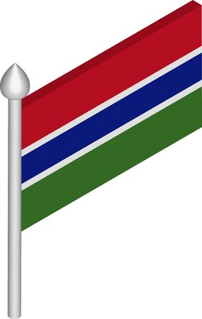 Vector Isometric Illustration of Flagpole with Gambia Flag