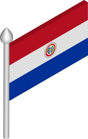 Vector Isometric Illustration of Flagpole with Paraguay Flag