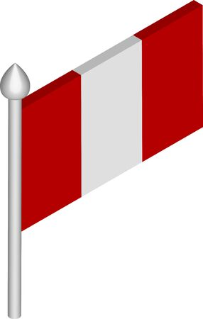Vector Isometric Illustration of Flagpole with Peru Flag