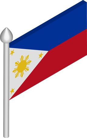 Vector Isometric Illustration of Flagpole with Philippines Flag